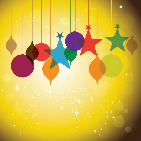 colorful hanging baubles on orange yellow background - concept vector. The concept graphic can represent festivals like christmas or xmas, new year, birthday & wedding events, valentines day, etc Vector