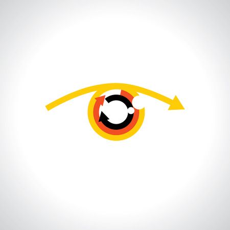 Colorful abstract human eye with futuristic arrows - concept vector.  Vector
