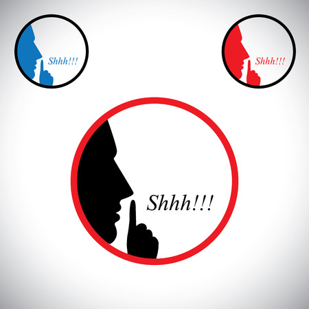 young man saying shh & gesturing using his forefinger - concept vector. This graphic contains a young male person raising his hand  indicating to stop talking, making noise & to be silent Vettoriali