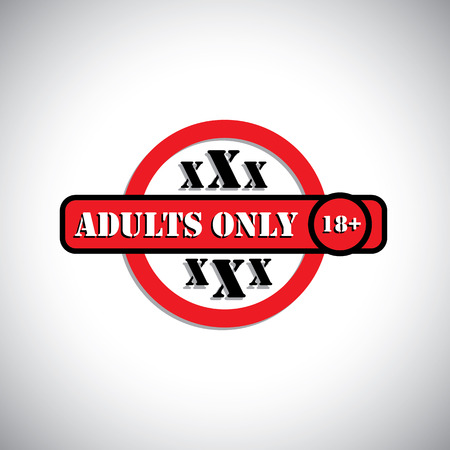 xxx material with label as adults only, 18+ - concept vector. This graphic can represent pornographic content, sexually explicit material, nude or naked people, etc