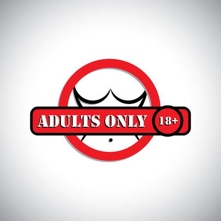girls nude body with label as adults only, 18+ - concept vector. This graphic can represent pornographic content, sexually explicit material, nude or naked people, etc
