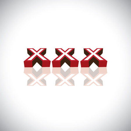 xxx letters indicating content is for adult viewership - concept vector. This graphic can represent pornographic content, sexually explicit material, nude or naked people, etc Illustration