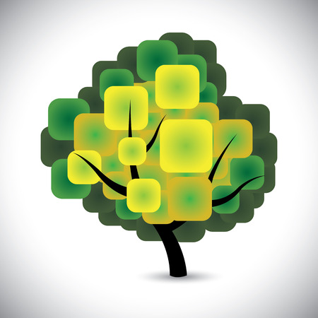 rejuvenation: abstract spring tree concept vector with colorful green leaves. This graphic icon represents concepts like conservation, ecological balance, growth & rejuvenation, spring or summer season, etc