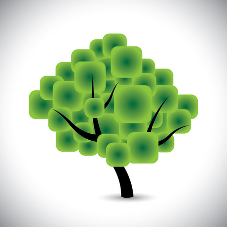 abstract tree concept vector with rounded squares as foliage. This graphic icon of a beautiful tree represents concepts like conservation, ecological balance, protect nature, etc Vector