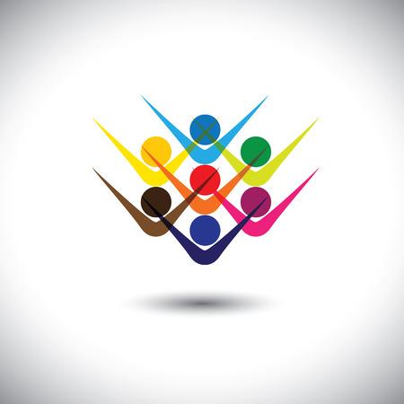 Kleurrijke abstracte begrip vector gelukkig opgewonden mensen of kinderen. Deze grafische illustratie kan ook gelukkige werknemers en personeel vertegenwoordigen, kinderen spelen, opgetogen vrienden, mensen feesten, etc Vector Illustratie