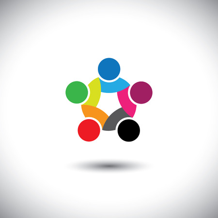 trust people: Colorful abstract concept vector of people unity, solidarity. This graphic illustration can also represent employee meetings, kids playing, children together, close friendship & trust, loyalty, etc