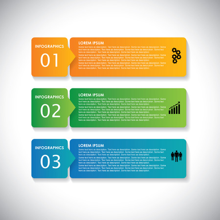data flow: colorful labels with sequence of steps  - vector infographic banners. This simple graphic can be used in marketing materials, websites & webdesigns, business presentations, advertising, etc