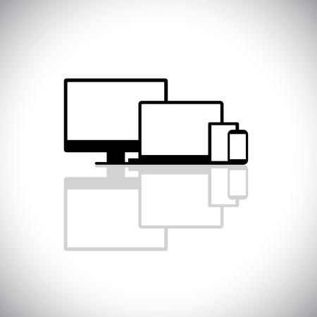 현대 가제트 세트 노트북, 컴퓨터, 전화 - 벡터 그래픽처럼. 이 그래픽은 데스크탑 PC 모니터, 노트북, 셀 또는 휴대폰의 아이콘, 웹 디자인에 사용되는