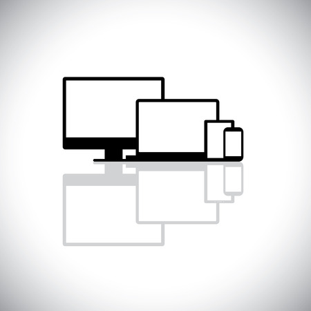 palmtop computer: set of modern gadgets like laptop, computer, phone - vector graphic. This graphic consists of icons of desktop PC monitor, laptop, cell or mobile phone, tablet and notebook used for web design