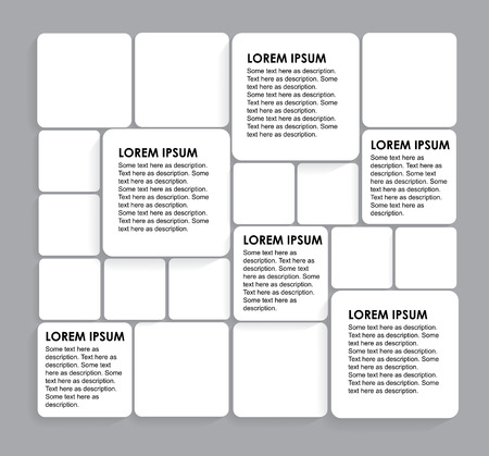 educational materials: rounded squares of white paper on grey - vector infographic banners. This graphic can be used in marketing materials, educational materials, business presentations, advertising, etc Illustration