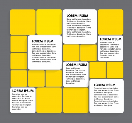 interconnected: rounded squares of white & yellow paper - vector infographic banners. This graphic can be used in marketing materials, educational materials, business presentations, advertising, etc