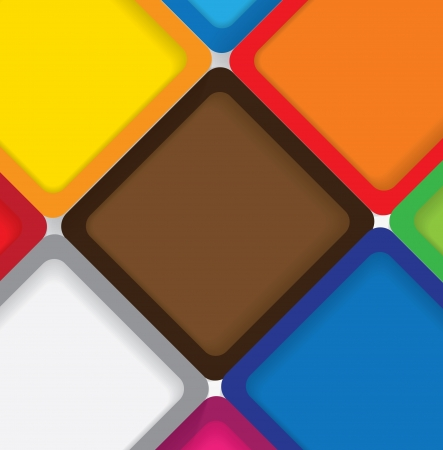 next to each other: colorful background squares with borders & shadows - vector graphic. This backdrop graphic is made of orange, yellow, pink, red, green & blue papers placed next each other with subtle shadows Illustration