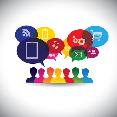消費者やユーザーはオンラインで社会的なメディアのアイコン ショッピング - グラフィック。  イラスト・ベクター素材