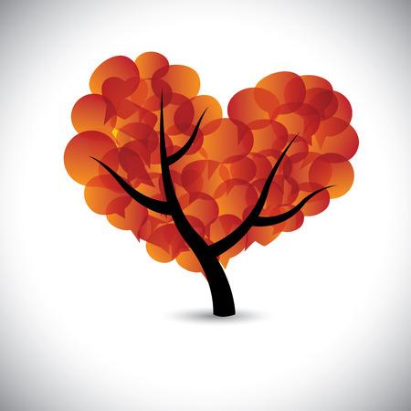 hartvormige liefde boom met tekstballonnen pictogrammen - grafische. Vector Illustratie