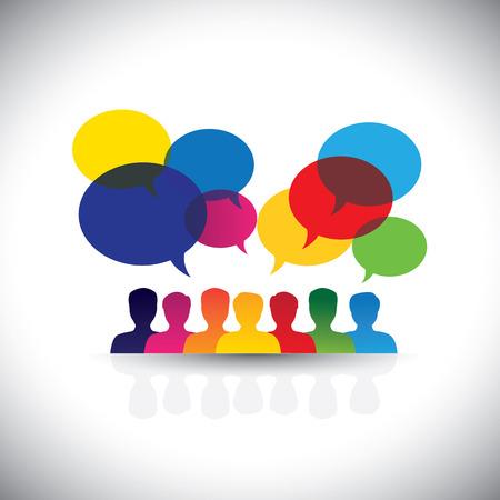 en ligne, gens, icônes dans le réseau social et les médias - graphique.