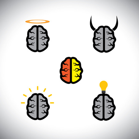 icons of different types of brains like genius, creative.  Illustration