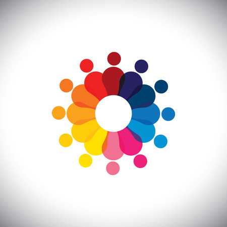 happy employees: abstract colorful school children in circle playing together - graphic.