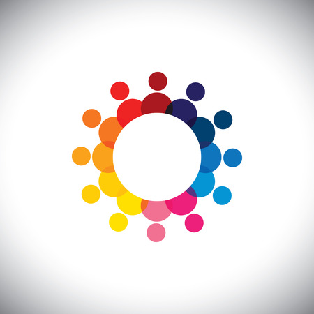 abstract colorful company employees unity & diversity - graphic.  Vector