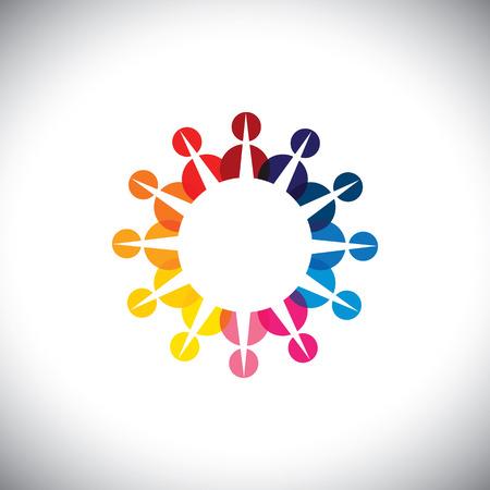 integral: Concepto gr�fico - la gente colorida iconos juntos como comunidad. Vectores