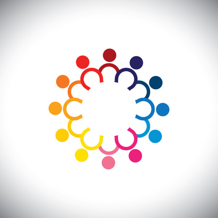 colorful icons of children standing in circle - concept.  Vector