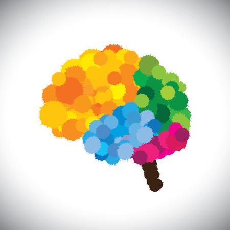 icon of creative, brilliant & colorful painted brain.  Illustration