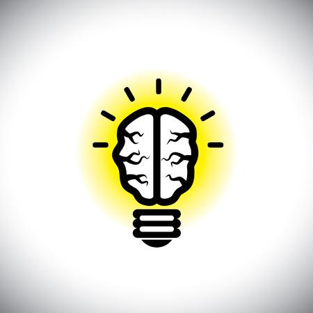 inventive: icon of creative, inventive brain as idea light bulb.