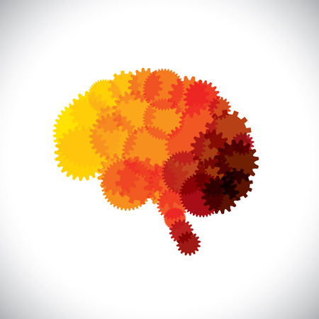 whiz: concept icon of abstract brain or mind with cogwheels.  Illustration