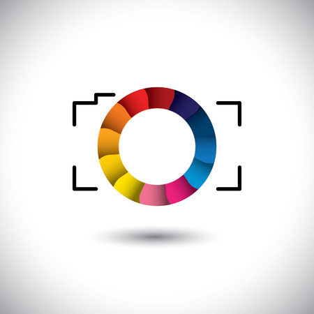reflex camera: abstract digital camera with colorful shutter vector icon front view. This graphic is simple vector representation of trendy lens of SLR or point & shoot camera for taking photos & videos Illustration