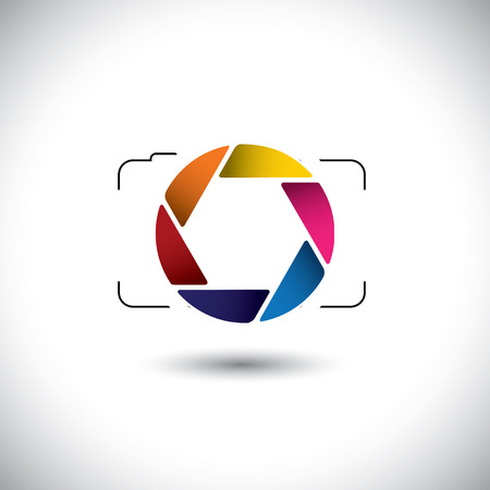 abstract point & shoot digital camera with colorful shutter icon. This vector graphic is a simple vector representation of stylish lens or aperture of a digital camera for taking photos & videos