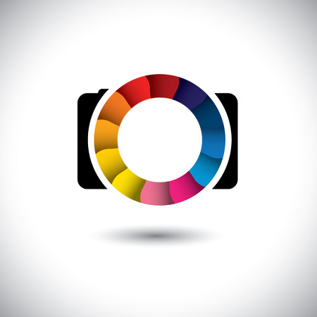 reflex camera: abstract SLR digital camera with colorful shutter vector icon. This graphic is a simple vector representation of stylish lens or aperture of a digital camera for taking photos & videos