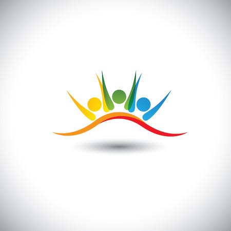 niños felices: concepto de icono de vector de amigos felices juntos. Este gráfico vectorial representa también emocionados niños, personal motivado, inspirado a la gente de la oficina, los niños felices jugando, amigos de fiesta frenesí Vectores