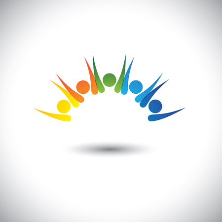 enthusiastic: Colorful happy, excited people having fun - concept vector. This graphic icon also represents children having good time, friends party, excited team members, happy employees, satisfied customers