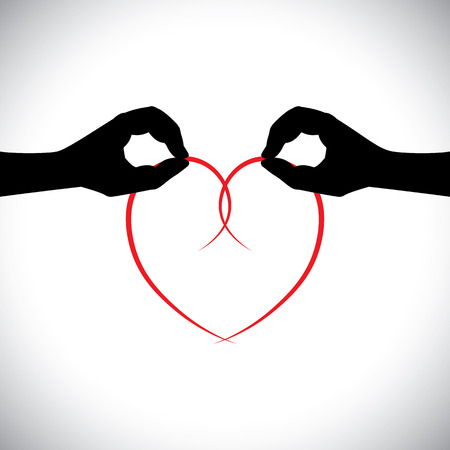 join hands: love vector concept - two lovers hands holding heart. This graphic icon also represents expressing love, engagement, marriage or wedding commitment, valentines day, etc