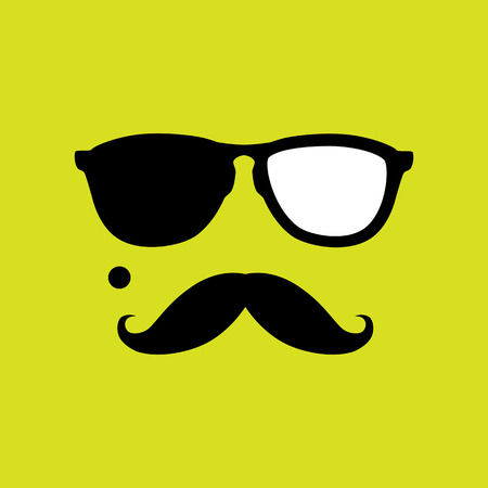 crook: thief or burglar with old style mustache, sunglasses vector. This graphic icon also represents robber with mole, mugger, crook or criminal