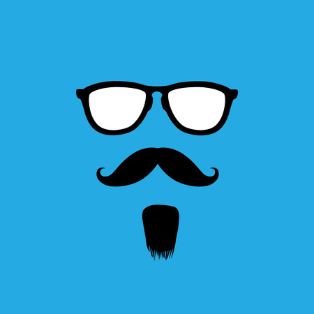 fellows: man with old style mustache, beard & sunglasses vector. This graphic icon also represents gentleman with retro looks, a person with masculine features, etc