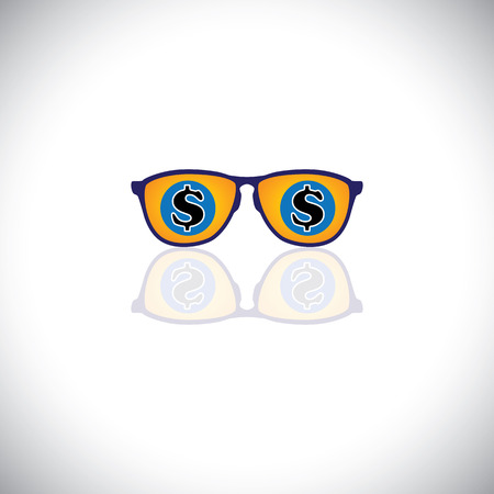 upmarket: concept vector of rich man with sunglasses with dollar sign. This graphic icon also represents millionaire with loads of money, billionaire businessman, wealthy entrepreneur, business baron or tycoon Illustration