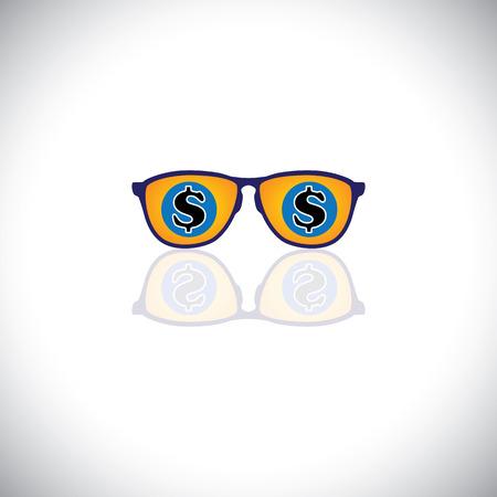 millonario: vector concepto de hombre rico con gafas de sol con el signo de d�lar. Este icono gr�fico tambi�n representa millonario con un mont�n de dinero, empresario multimillonario, rico empresario, magnate de negocios o el magnate