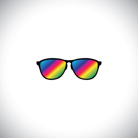 jetsetter: concept vector of traveler or tourist wearing colorful glasses. This graphic icon also represents globetrotter, visitor on vacation, people traveling on holiday, person dreaming Illustration