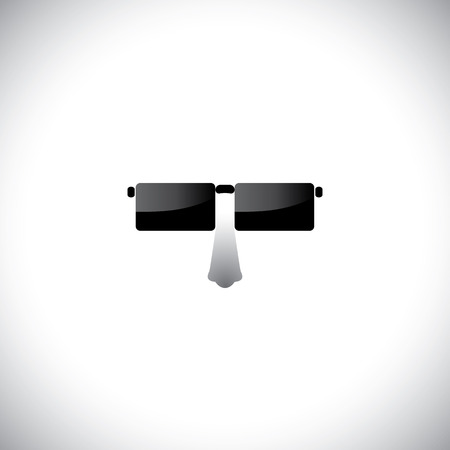 nerdy: geeky nerdy look with stylish retro glasses - vector icon.