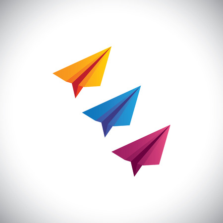 force of the wind: colorful paper plane vector icons - origami style. This graphic consists of flyers in bright, vibrant colors like orange, blue, yellow & pink