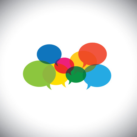speech bubble icons or chat signs - communication vector concept. This graphic symbol also represents social media communication, virtual interaction, global internet chat, people opinions, ideas, etc