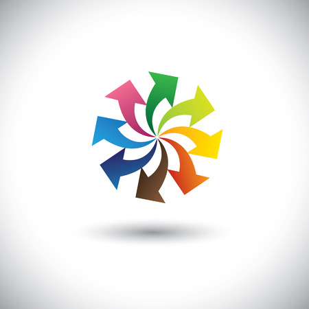 diversified: colorful arrows of team, teamwork, progress - concept vector. This graphic icon also represents diversity, unity, solidarity, team spirit, integrity, corporate business icon, etc Illustration