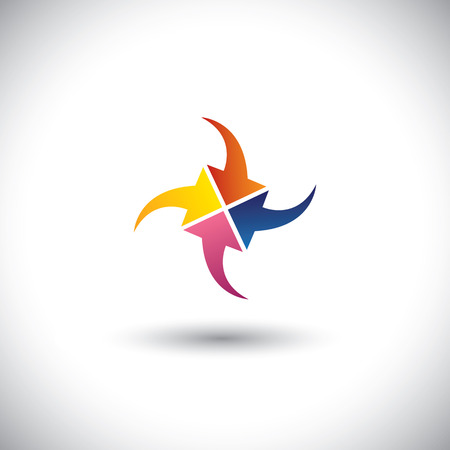 inwards: colorful arrows concept vector of meeting, aim, goals & targets. This graphic icon also represents diversity, unity, solidarity, team spirit, integrity, corporate business icon, etc