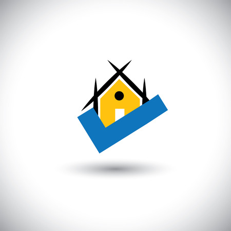 vector of sold house or right real estate property icon. This graphic illustration represents home sign in orange and a blue tick mark indicating profitable asset, property on sale, etc Illustration