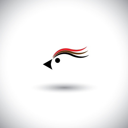 bird head vector with lovely colorful feathers, eyes & beak. This graphic icon is a simple vector representation of a beautiful bird with minimal strokes & shapes