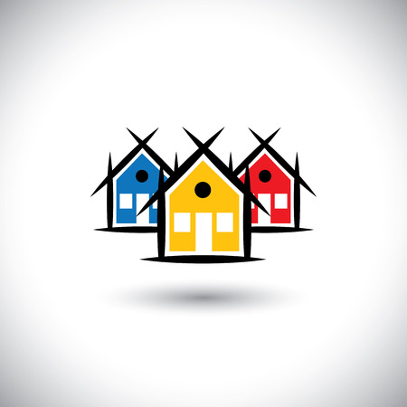 locality: abstract vector of colorful house or real estate property icons. This graphic illustration represents home sign in red, orange and blue colors, community living, village, residential locality, etc