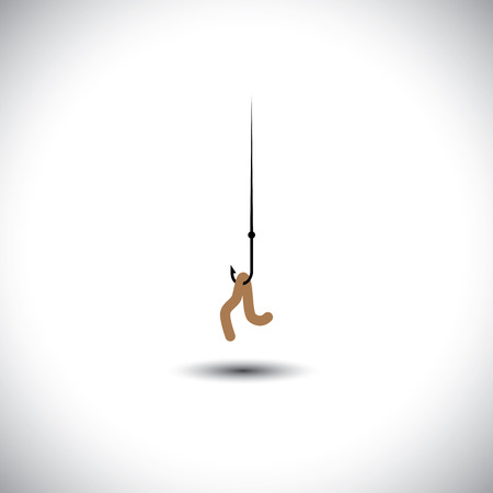 hook like: fish hook with worm as bait - vector concept of attraction. This graphic icon also represents strategies like luring people with offers & discounts, retaining talent with salary bait, etc