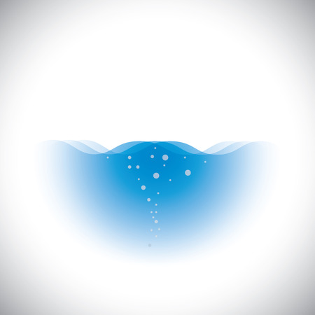 represents: pure crystal clear blue water of oceans & seas - vector concept. This graphic with waves & bubbles also represents fresh, clean drinking water from rivers, ponds, lakes, etc  Illustration