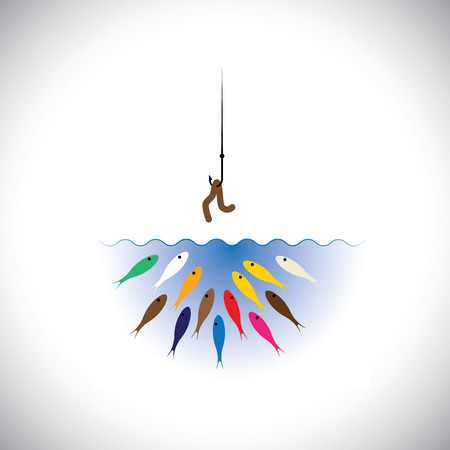 hook like: fish hook with worm as bait for fishing - vector concept. This graphic icon also represents strategies like attracting top talent by corporates, retaining talent, cheating & deception, etc