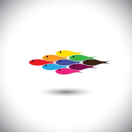 Poissons multicolores nageant ensemble - l'unité et la solidarité notion vecteur. Ce graphique peut être représentatif du tourisme et Voyage destination d'un lieu exotique, aqua & aventure sports nautiques Banque d'images - 25803208